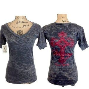 Cowgirl Tuff Burn Out Victory Cross T Shirt-N0098*